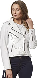 Smart Range Ladies Cynthia White Slim Fit Biker Rock Real Leather Motorcycle Brando Jacket