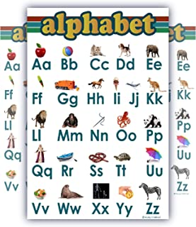 ABC alphabet Chart for teaching SMALL Clear white LAMINATEd and child bedroom poster great quality edu (15x20)