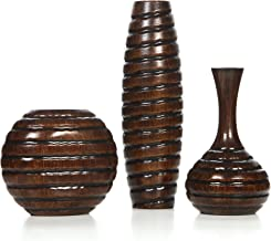 Hosley Set of 3 Carved Wood Vases Small 6 Inch Medium 8 Inch and Tall 12 Inch High Ideal..