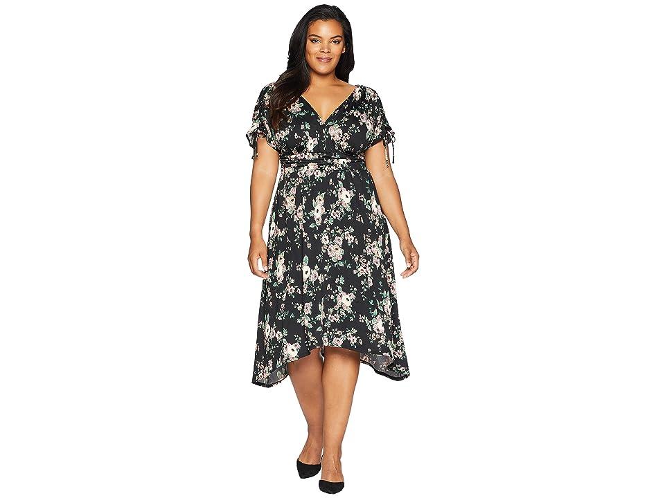 Kiyonna Tessa Ruched Dress (Black Floral Print) Women