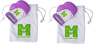 Munch Mitt Teething Toy Stays on Baby's Hand is Self-Soothing Entertainment and Gives Pain Relief from Teething plus is Ideal Baby Shower Gift that includes Handy Travel/Laundry Bag– Set of 2 Purple