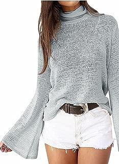 Hihihappy Fashion Women Autumn Bell Sleeve Lace Up Back Turtleneck Blouse Knit Sweater