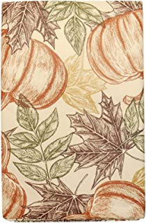 Autumn Sketched Vinyl Tablecloth with Flannel Backing - Detailed Sketches of Pumpkins and Leaves on Cream Colored Background (52