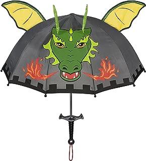 Dragon Knight Grey Umbrella for Boys w/Fun Sword Handle, Pop-Up Dragon Wings
