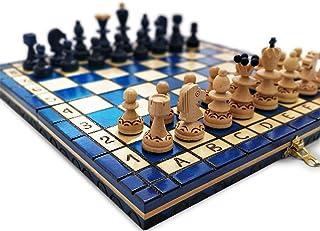 KHAPLO – Träschackspel de Luxe – vikbart schackbräde – handgjorda – 31 x 31 cm – stor spelbräda – modell ROMA – blå