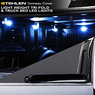 Stehlen 733469489900 Light Weight Hard Tri-Fold Tonneau Cover with Truck Bed LED Lights For 04-14 Ford F150 / 06-08 Lincoln Mark LT 6.5 Feet (78