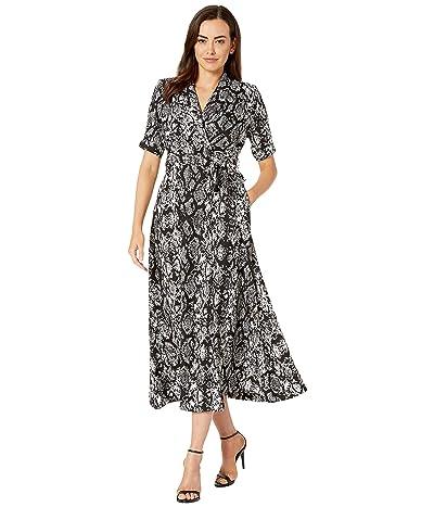 Calvin Klein Snakeskin Long Faux Wrap Dress (Black/Cream) Women