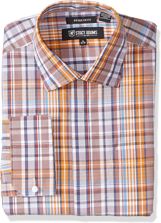 STACY ADAMS Men's Plaid Regular Fit French Cuff Dress Shirt