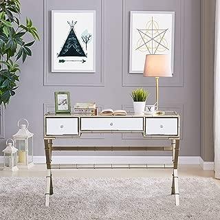 Southern Enterprises Lienz Hollywood Regency Mirrored Console Table, 17.5 X 31, Metallic