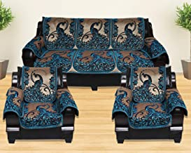 KINGLY Chenille Velvet 12 Pcs Pikok Design Sofa Covers Set of 5 Seater (3+1+1) – Blue, Firozi,Gold