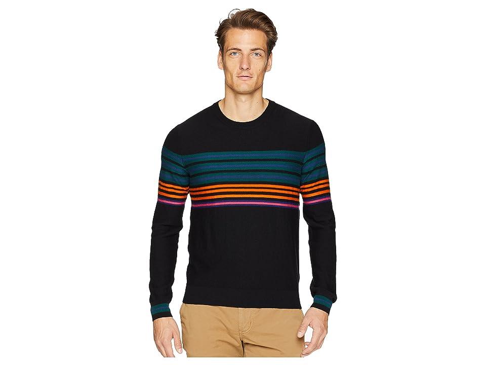 Paul Smith Cotton/Merino Striped Sweater (Black) Men