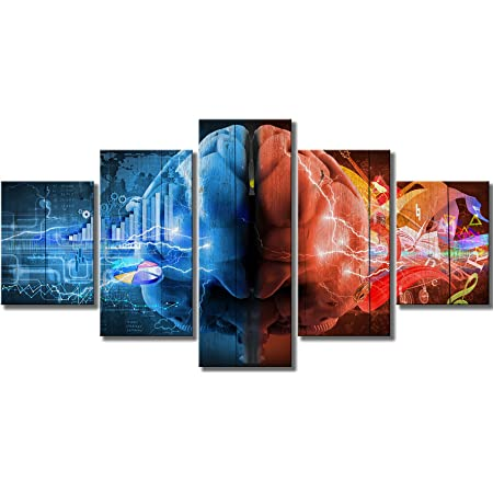 Amazon Com Klvos 5 Piece Canvas Quotes Brain Art Wall Decoration Inspiration Motivation Brain Functions Canvas Art Posters For Classroom Ready To Hang For Classroom Office 32 X60 Posters Prints
