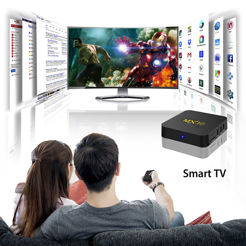 SCS ETC - Smart TV Box MX10 con Android 7.1.TV Box con 4 GB de RAM + 32 GB de ROM, admite WiFi de 2,4 G, procesador Quad-Core de 64 bits, admite