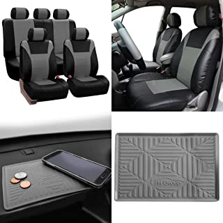 FH Group Summer Sale PU003115 Racing PU Leather Car Full Set Seat Covers, Airbag & Split Ready, Gray/Black Color w. FH3011 Silicone Anti-Slip Dash Mat - Fit Most Car, Truck, SUV, or Van