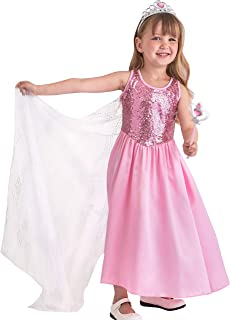 Pink Princess Halloween Costume Girls Dress w/Cape Tiara & Wand