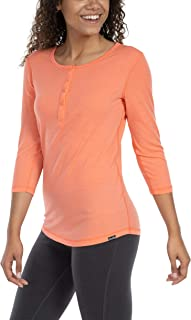 Woolly Clothing Co. Women's Merino Wool 3/4 Sleeve Henley - Ultralight - Wicking Breathable Anti-Odor