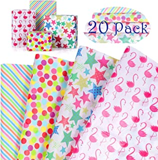 Papier Cadeau Très Mince Coloré, MOOKLIN ROAM 20 Feuilles de Papier D'Emballage Cadeau pour La Saint-Valentin, Anniversair...