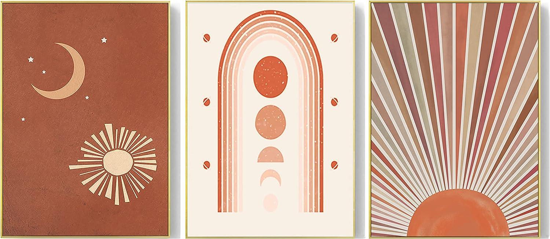 Boho Prints Mid Century Modern Wall Decor Art Prints-Boho Minimalist Abstract Canvas for Girls Room Bedroom Decor,The Geometric Arch Rainbow With Sun and Moon Wall Art Printing for Dorm Living Room  UNFRAMED (12
