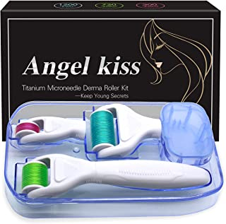 Derma Roller Microneedling for Face & Body - Angel Kiss 4 in 1 Titanium Microneedle Roller - Cosmetic Microdermabrasion Mi...