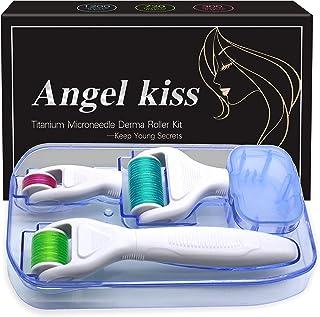 Best Derma Roller Microneedling for Face & Body - Angel Kiss 4 in 1 Golden Titanium Microneedle Roller Cosmetic Needling Instrument Kit - 300/720 Needles 0.25mm, 1200 Needles 0.3mm Dermaroller Review