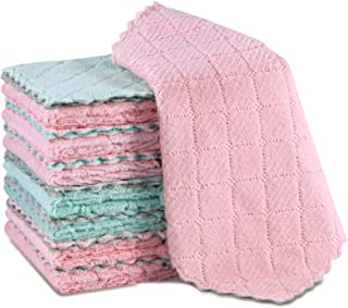 "15 Pack Dish Cloths - Super Absorbent Kitchen Towels, 9.8"" x 9.8"", Premium Lint Free Coral Fleece Dish Towels, Fast Drying..."