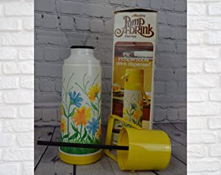 TONGGIANG - Vintage 1970s Pump a Drink! Aladdin Glass Vacuum Insulated Thermos with Original Box