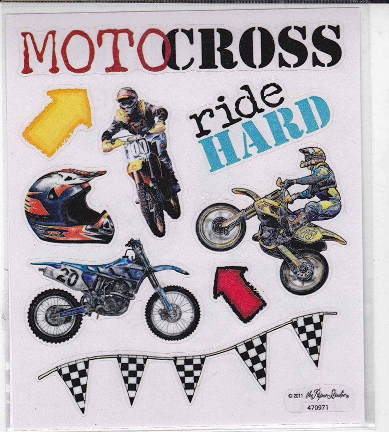 2 Sheets Stickers - Motocross Dirt Bikes Motorcycles