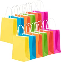 24-Pack Gift Bags - Neon Colored Bulk Gift Bags with Handles, Small Sized Paper Bags for Retail, Gifts, Shopping, Party Favors, Fuchsia Pink, Red, Blue, Green, Orange, Yellow, 6.3 x 3.1 x 8.6 Inches
