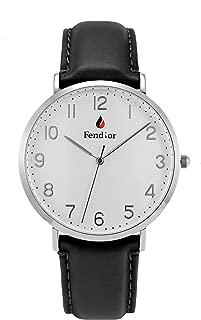 Fendior Waterproof Unisex Mens Black Leather Thinnest Easy to Read Analog Quartz Wristwatch