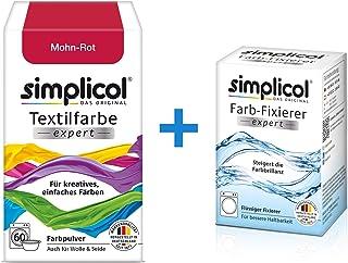 Simplicol : Kit Complet Teinture Expert + fixateur : Votre Teinture Express (Paquet 300g + Flacon 90ml) - Rouge Coquelicot
