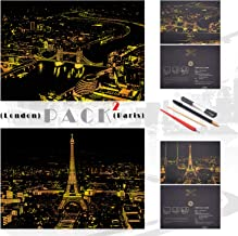 Golden Scratch Painting Paper By BOTEEN,City Series Night Scene,Scratch Painting Creative Gift,Scratchboard for Adult and Kids,with 4 Tools,Size:16''x11'' (London,Paris)