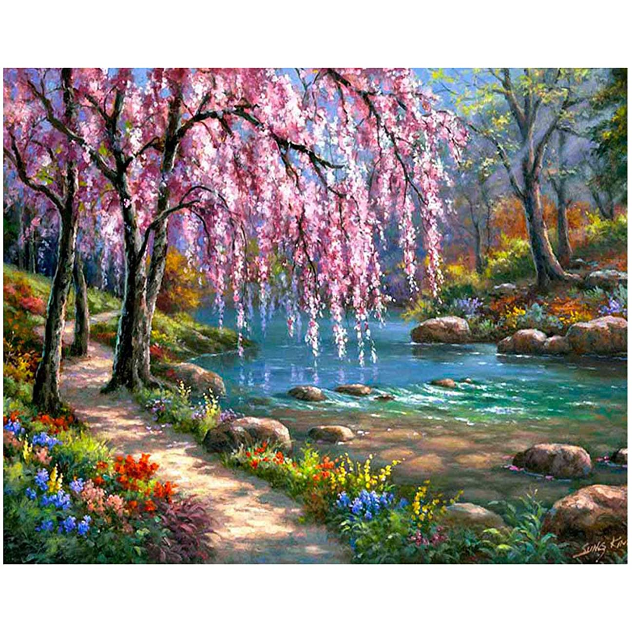 ANMUXI 5D Diamond Painting Kits Full Square Drills for Adults 30X40CM Pink Tree Landscape Scenery Paint with Diamonds Art for Stress-Relief & Home Decor