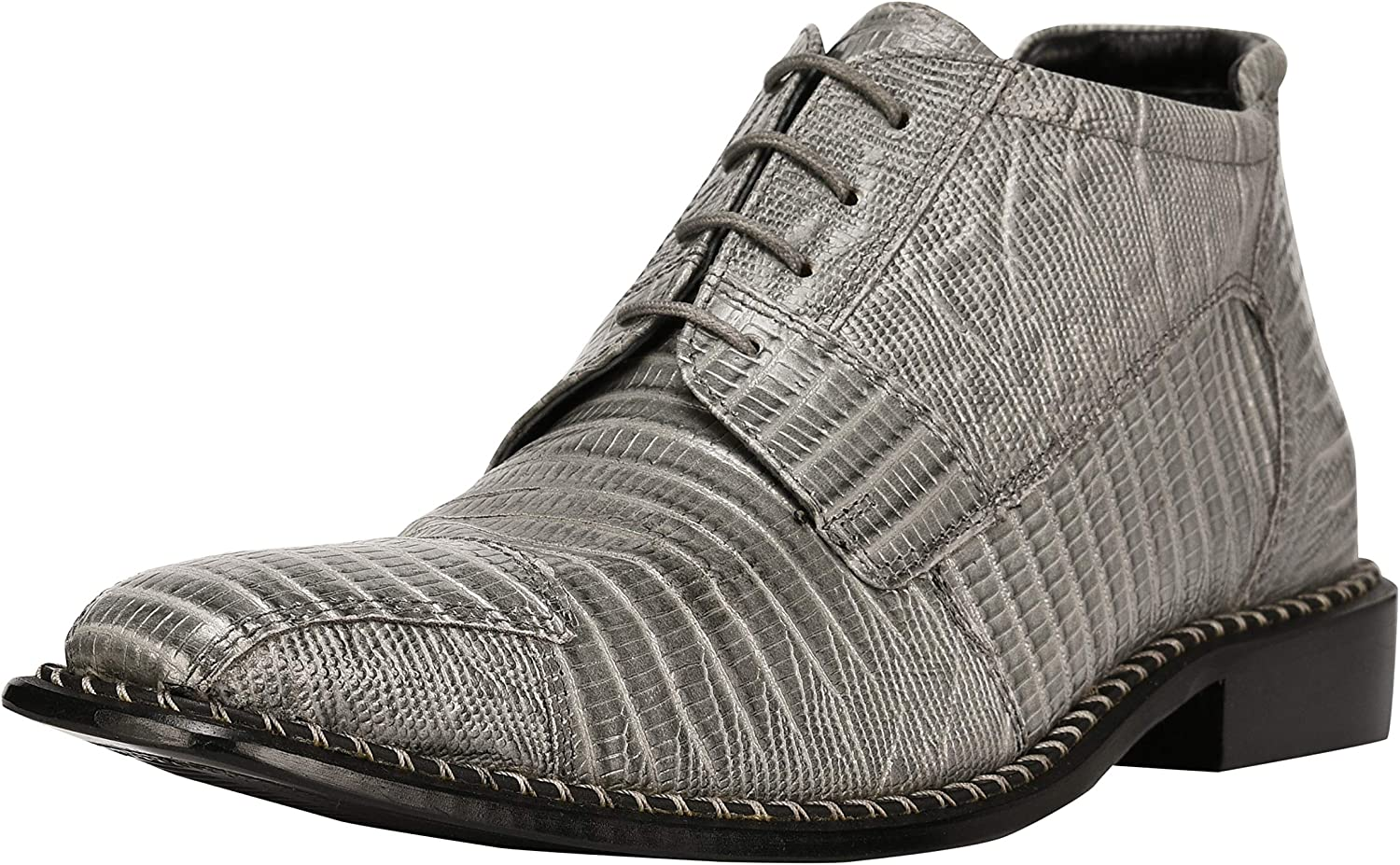 Liberty Men's Genuine Leather Ankle High Top Lizard Print Lace Up Dress Shoes