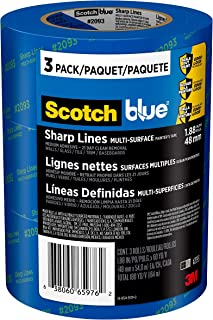 Scotch Painter's Tape 2093-48TC3 ScotchBlue Sharp Lines Painter's Tape, 1.88 inch x 60 yard, 3 Rolls, Blue