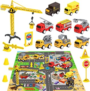 Construction Vehicles Toys with Play Mat, 8 Construction Cars and Crane, 6 Road Signs and 27.5