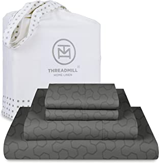 Threadmill King Sheets - 500 Thread Count Jacquard Floria Dark Grey, 4 Piece Extra Long Staple Cotton Bedsheet Set, Silky ...