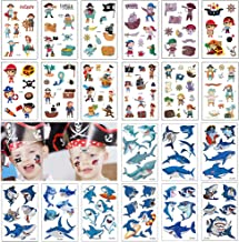 140+ PCS Kids Tattoos, Pirates with Shark Themed Cute Cartoon Temporary Tattoos for Boys Girls Kids Birthday Party Bag Filler, Party Favors