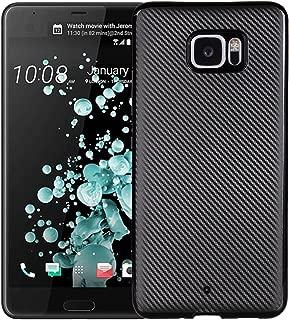 MyCase For HTC U Ultra (2017) Slim Carbon Fiber Rubber Soft TPU Hybrid Shockproof Case Cover (Color : Black)