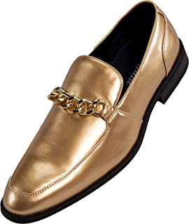 Men's Patent Slip On Loafer Dress Shoe with Chain Bit, Style Gino