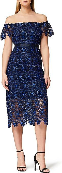 TRUTH & FABLE Women's Two Tone Lace Bardot Shift Dress Party Dress, Multicolour
