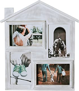 Farmhouse Picture Frame with Four 4 x 6 Picture Openings. Rustic Picture Frame is Ideal for Kitchen, Hanging, or Desk. Picture Frame is Rustic & Vintage Farmhouse Good for Table, Desktop or Wall