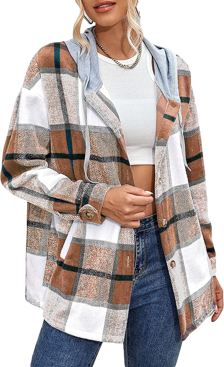 PASLTER Womens Casual Plaid Hooded Shirt Jackets Long Sleeve Button Down Flannel Fall Spring Coat With Pockets