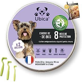 Ubica® (X2) Collier Anti Puces pour Chien Naturel Anti Tiques pour Petit Chien (-8kg) – Répulsif – A Base d'Huiles Essenti...