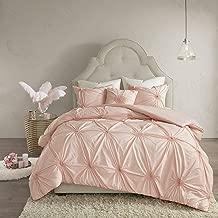 Madison Park Leila Cotton Blend Geometric Duvet Cover Full/Queen Size, Blush 4 Piece Bedding Set