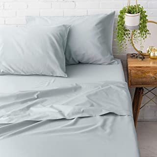 Welhome Queen Size Sheet Set of 4 Piece - 100% Cotton Percale - Breathable - Cool & Crisp - Deep Pocket - Easy fit - Flagstone