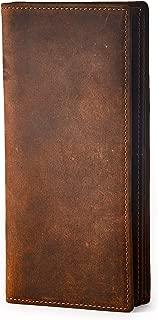 Men's Long Wallet Slimline Bifold Vintage Style Minimal Genuine Leather Card Holder