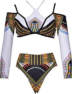 Womens Long Sleeve Tribal Printed Beachwear High Waist Two Piece Swimsuits