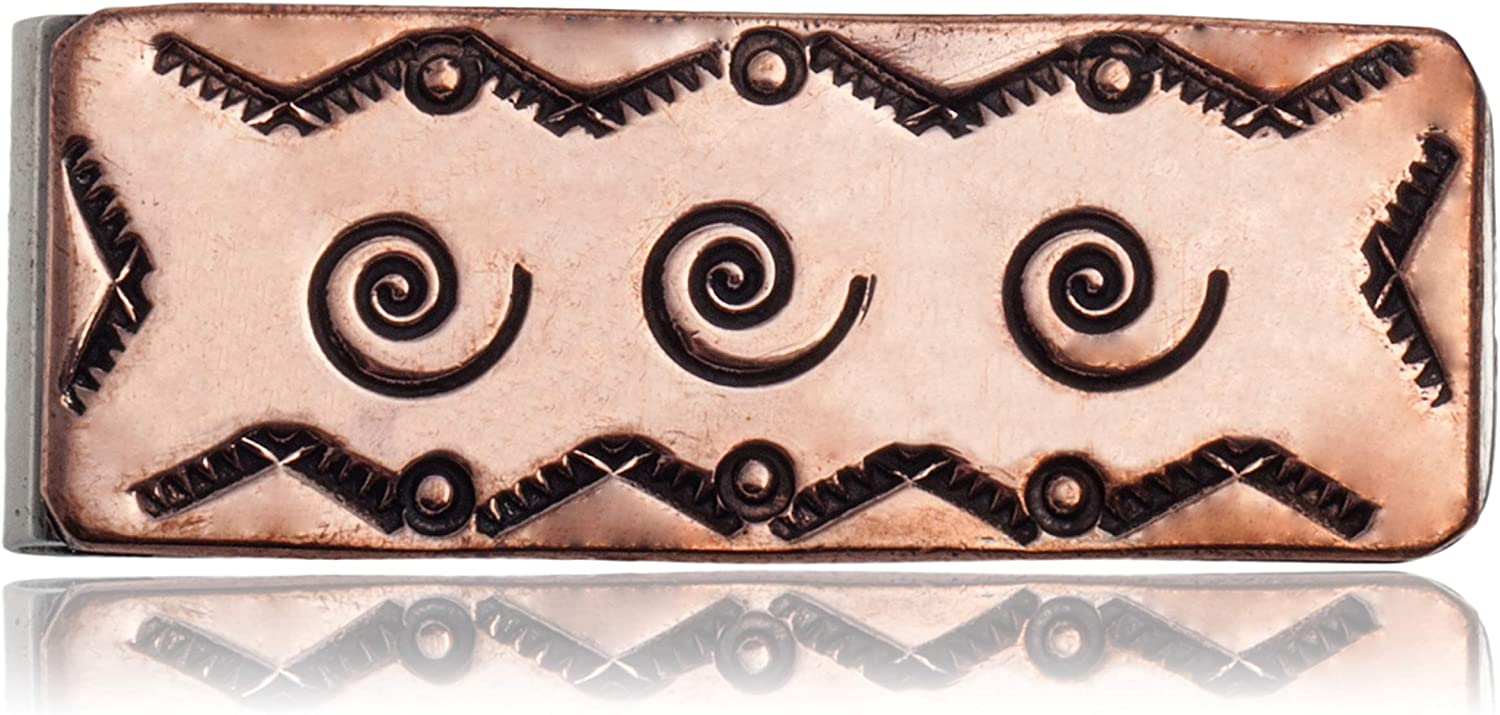 $170Tag Swirl Mountain Navajo Certified Copper Nickel Native Money Clip 11267-5 Made by Loma Siiva