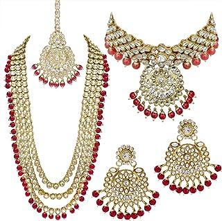 Aheli Indian Wedding Kundan Beaded Bridal Long Choker Necklace Earrings with Maang Tikka Traditional Jewelry Set for Women