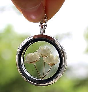 Collana con ciondolo a forma di fiore secco con pendente a forma di fiore rotondo